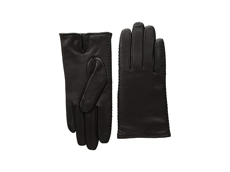 Polo Ralph Lauren Nappa Sheepskin Corsetted Gloves (Black) Over-Mits Gloves