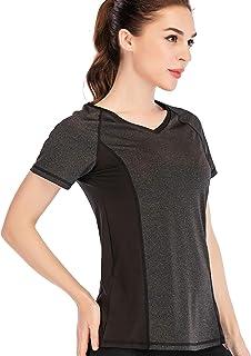 Women V Neck Yoga Shirt Loose Fit Runner Workout Tops Yoga Activewear T-Shirt Athletic Running Shirt