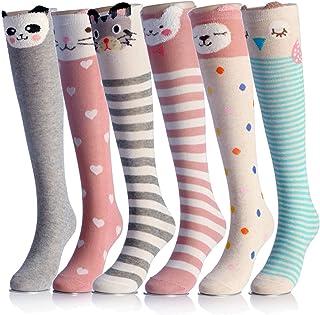 Calcetines altos de algodón con dibujos animados de gato oso zorro sobre la pantorrilla 6 colores talla única