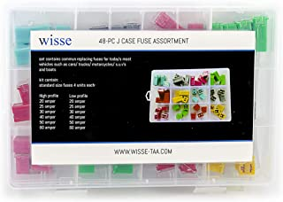 WISSE Replacement Fuse for Car Truck Motorcycles SUV Boats etc (48PC J Case Fuse)