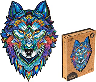 Unidragon Wooden Puzzle Jigsaw, Best  Adults and Kids, Unique Shape Jigsaw Pieces Majestic Wolf, 11.8 x 16.1 inches, 310 P...