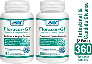 Floracor-GI – 360 Vegetarian Capsules (180 x 2) -Intestinal and Candida Cleanse for Maximum Absorption – Natural Premium Probiotic, Prebiotic and Enzyme Formula