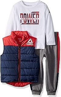 Reebok Boys' Toddler 3 Piece Puffer Vest, Long Sleeve T-Shirt and Fleece Pant