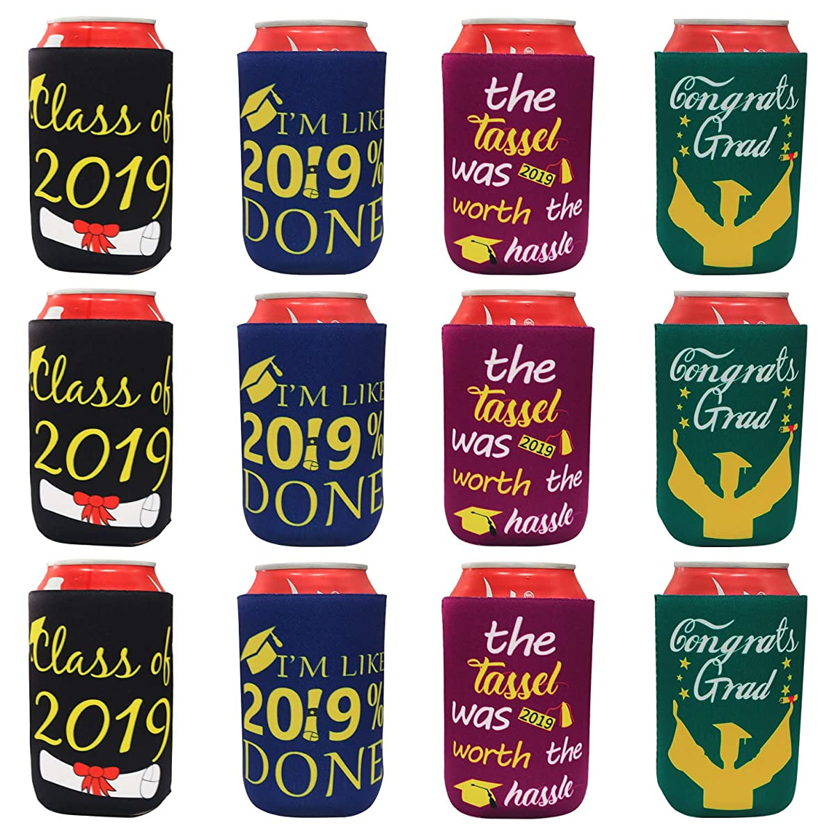 Tifeson 12-Pack Graduation Can Cooler Sleeves - Class of 2019 Funny Neoprene Beer Can Covers for Soda, Can Beverage -?Graduation Party Decoration Supplies