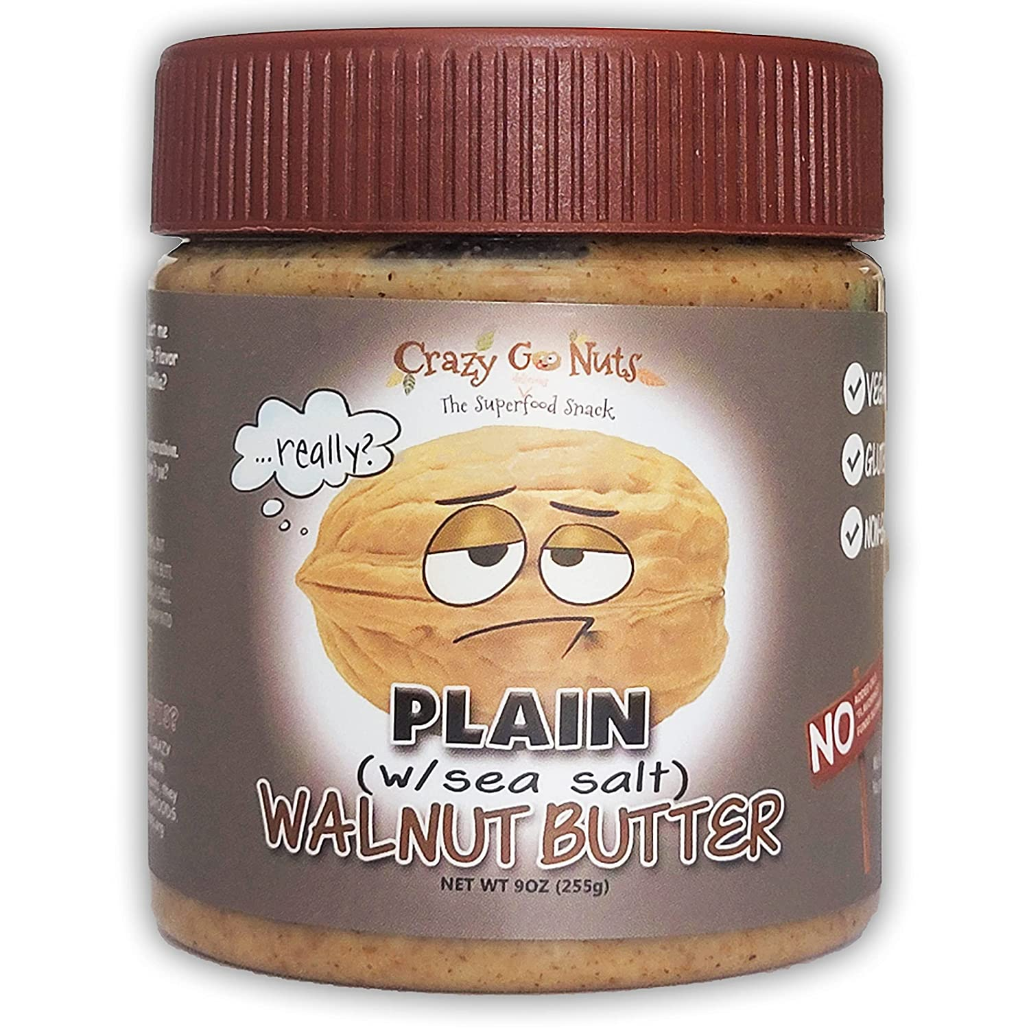 Crazy Go Nuts Walnut Butter - New Shipping Free Plain 9 oz w 1-Pack Salt Sea Bombing free shipping