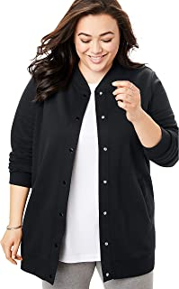 Woman Within Women's Plus Size Fleece Baseball Jacket