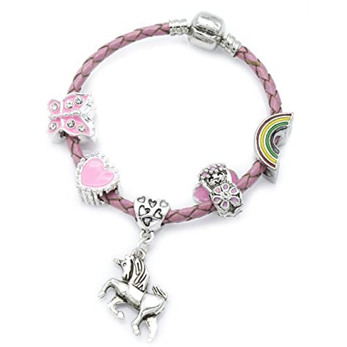 baeaae2bf Children's Pink Leather 'Unicorn' Charm Bracelet with Gift Box Girls  Jewellery