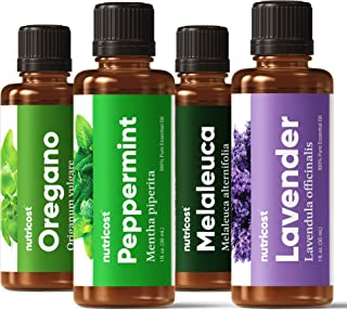 Nutricost Essential Oil Variety Pack (4 Count) - Lavender, Peppermint, Melaleuca, Oregano
