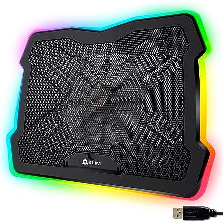 """KLIM Ultimate + Base di Raffreddamento RGB per PC Portatili da 11"""" a 17"""" + Supporto di Raffreddamento per Laptop da Gaming + novità 2021 + USB + Stabile e Silenzioso + Compatibile con Mac e PS4"""