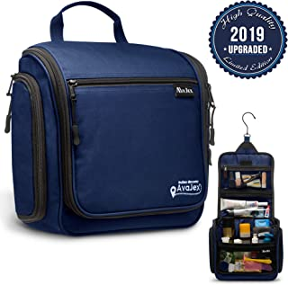 """Hanging Toiletry Bag for Women and Men - Deluxe Large Travel Toiletry Organizer - Waterproof Hygiene Bag with Metal Swivel Hook and 17 Compartments for Travel Toiletries, Makeup, Cosmetics 11.02''x3.23''x9.84"""" Navy Blue"""