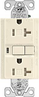 EATON Wiring TRAFCI20LA 20 Amp Tamper Resistant AFCI Receptacle, Light Almond Finish