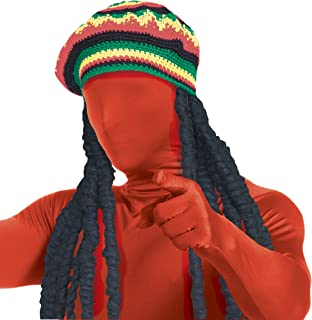 Rubie's Men's Second Skin Rasta Dreadlock Wig with Rainbow Color Cap, Multicolor, One Size