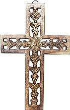 Decorative Wall Cross Wooden French Handmade Plaque Religious Altar Home Living Room Home Decor Accessory (Design 1)
