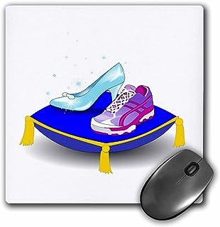 3dRose 8 x 8 x 0 25 Inches Running Shoe and Princess Glass Slipper High Heel on Pillow Girl Woman Runner Run Track Race Ra...