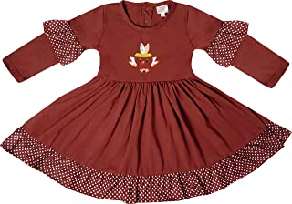 AMK Boutique Clothing Girls Fall Thanksgiving Turkey Dress Outfit Set with Bow