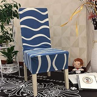 SKYROPNG Fundas Elásticas para Sillas De Comedor,Universal Modern Wave Pattern Non-Slip Blue Chair Covers, Removable Anti-Dust Ployester Elastic Fabric, Four Seasons Universal Chair Cover,4,Pcs