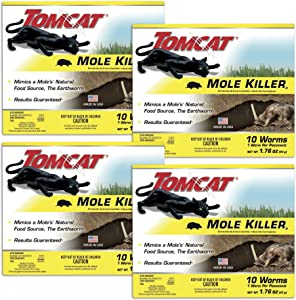 Tomcat Mole Killer(a) - Worm Bait - Includes 10 Worms per Box - Mimics a Mole's Natural Food Source - Ready-to-Use Mole Killer - Effective Against Most Common Mole Species Pack of 4