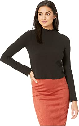 Best Intentions Rib Knit Top with Lettuce Leaf Hem