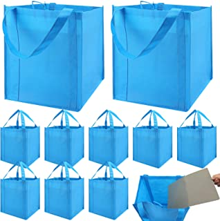 Set of 10 Reusable Grocery Bags Heavy Duty Shopping Bags Large Grocery Totes with Reinforced Bottom Super Sturdy Handles W...