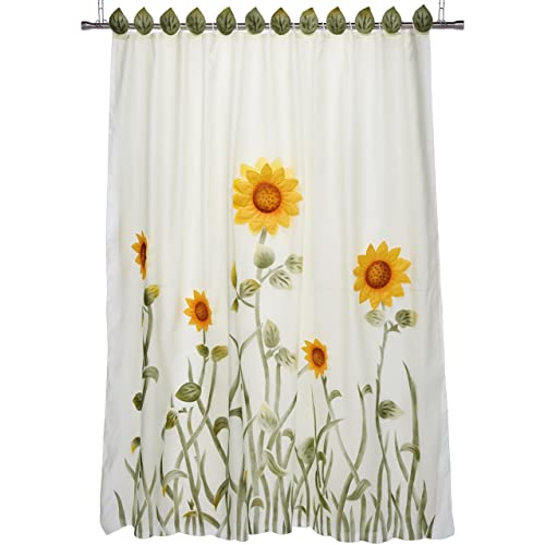 Chezmoi Collection White Green And Yellow 3D Sunflower Shower Curtain With Liner 12