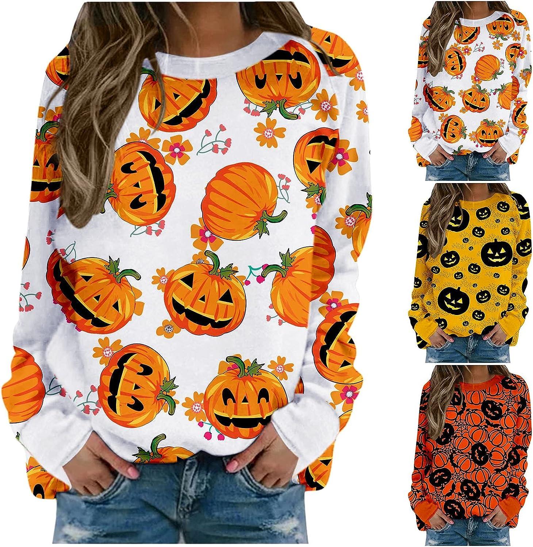 nunonette Sweatshirts for Women Crewneck Halloween Pumpkin Pattern Pullover Long Sleeve Tops Blouse Casual Loose Sweater