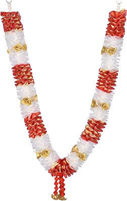 Daedal crafters Artificial Net Ribbon Garland And Roses (White And Red)