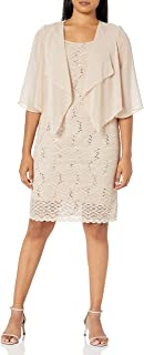 Sandra Darren Women's 2 Pc Sleevless Lace & Chiffon Jacket Dress