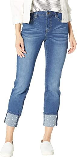 Five-Pocket Skinny Jeans with Pearl Beads in Medium Wash