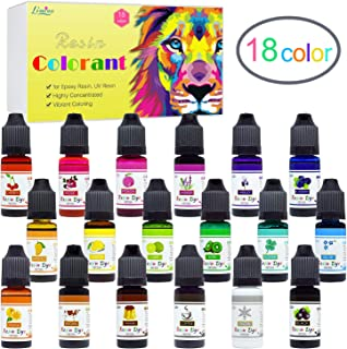 Epoxy Resin Pigment - 18 Colors Epoxy UV Resin Dye Liquid Transparent for UV Resin Coloring, DIY Resin Jewelry Making - Concentrated UV Resin Colorant for Art, Paint, Crafts - 0.35 oz/10ml Each
