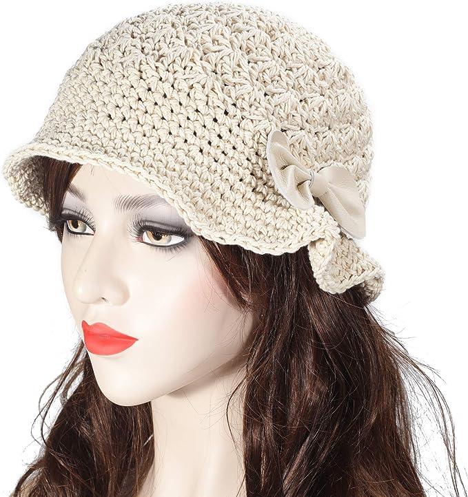 1930s Style Hats   Buy 30s Ladies Hats ZLYC Women Winter Crochet Bucket Hat Handmade Cotton Knit Cloche Bowler Hats  AT vintagedancer.com