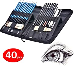 40pcs Sketch pencil kit, Professional sketch pencils set, Sketching Drawing Kit Including Graphite Charcoal Willow Sticks Erasers Sharpeners pop-up stand with Carry Bag, Art Supplies students