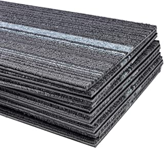 Commercial Strip Carpet Tile 39.37 x 9.84 inch Heavy Duty Peel and Stick Carpet Floor Tile for Indoor Commercial Squares Flooring Use - 12 Tiles Per Carton (Grey)