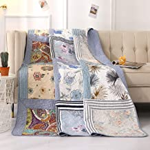 VIVILINEN Patchwork Quilt 100% Cotton Reversible Vintage Floral Paisley Quilted Blankets Lightweight Bed Throws for Couch ...
