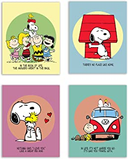 Charlie Brown and Snoopy Bedroom Nursery Wall Art Prints - Set of 4 (8x10) Poster Photos - Peanuts and Quotes Decor