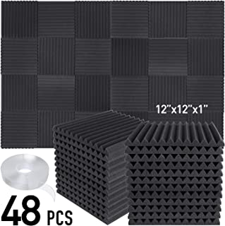 """Focusound 48 Packs Acoustic Foam Panels Wedge Soundproof Studio Wall Tiles Sound Absorbing with Double Side Adhesive Tape, 1"""" X 12"""" X 12"""""""