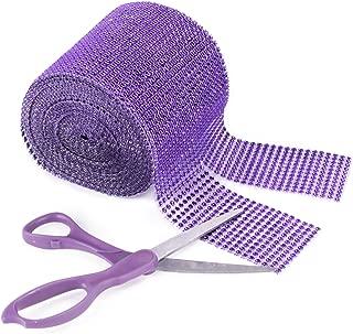 Purple Rhinestone Diamond Style Arts and Crafts Decorating Mesh Ribbon Roll (4.75