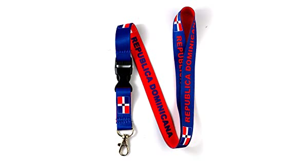RockNerdy Dominican Republic Flag Reversible Lanyard Keychain with Quick Release Buckle and Metal Clasp ID Lanyard for Keys Badges ID Holder for Women Men