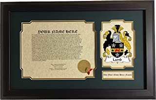 Lamb - Coat of Arms and Last Name History, 14x22 Inches Matted and Framed