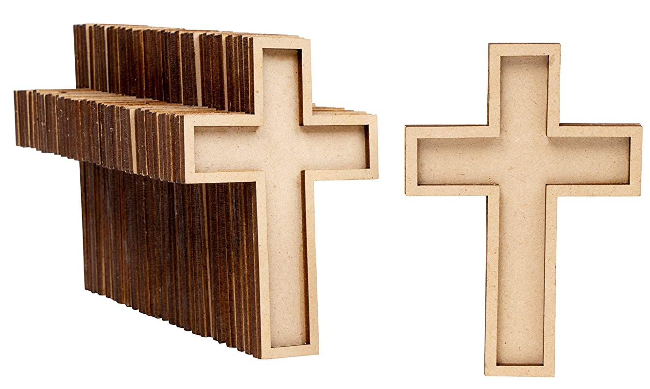 Unfinished Wood Cutout - 50-Pack Wooden Cross, Wood Pieces, Wood Shapes, for Wooden Craft DIY Projects, Sunday School, Church, Home Wall Decoration, 4 x 2.7 x 0.4 Inches