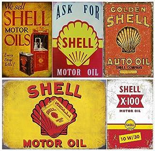 Auggies Set Blechschild Shell Motor Oil & Benzin Metall Retro Schilder Plaketten Wandsticker Vintage Look 30,5 x 20,3 cm (Shell Motor Oil X5)