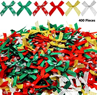 WILLBOND 400 Pieces Christmas Ribbon Bows Glitter Christmas Bows Xmas Tree Wreaths Bowknot for Xmas Decoration Gifts Wrapp...