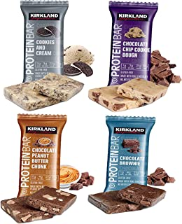 Kirkland Signature Protein Bar Variety Pack (20 Count) 5 of Each, All 4 Flavors - Chocolate Chip Cookie Dough, Chocolate Peanut Butter Chunk, Chocolate Brownie, and Cookies & Cream 2.12oz