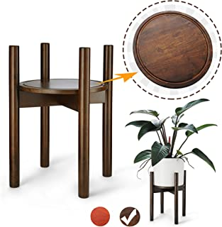 LITADA Wood Plant Stand Mid Century Planter Stand with Plant Saucer, 16'' Tall - Fit 10.5'' Flower Pot, Wood Flower Pot Holder Home Decor - Walnut Color (Plant and Pot NOT Included)