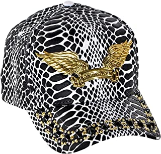 Curve Bill Snap Back Hat With Aurum and Clear Crystal SW Black Spikes One Size White