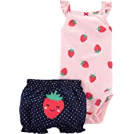 2-Piece Strawberry Bodysuit & Short Set- Pink