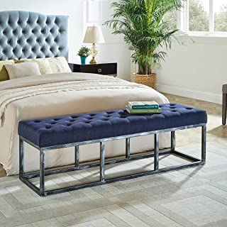 24KF Upholstered Tufted Long Bench Seats with Metal Frame Leg, Ottoman with Padded Seat-Navy Blue
