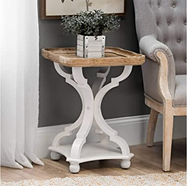 COZAYH Rustic Farmhouse Cottagecore Accent End Table, Natural Tray Top Side Table Nightstand for Family, Dinning or Living Ro