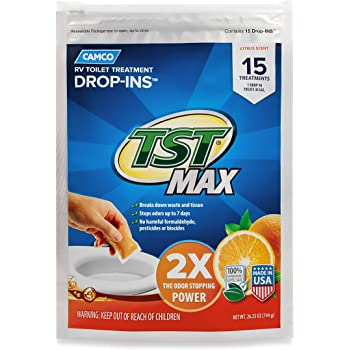 Camco TST Ultra-Concentrated Orange Citrus Scent RV Toilet Treatment Drop-Ins, Formaldehyde Free, Breaks Down Waste And Tissue, Septic Tank Safe, 15-Pack (41189)