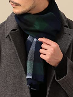 Wool Cashmere Check Scarf 118-36-0090: Olive