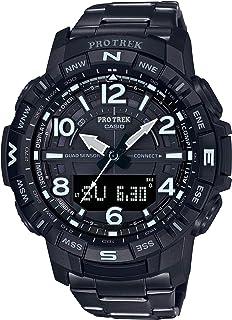 Men's Pro Trek Bluetooth Connected Quartz Fitness Watch with Titanium Strap, Black, 23 (Model: PRT-B50YT-1CR)